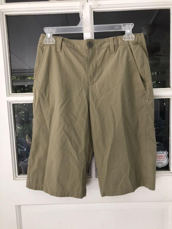 Under armour Boys Beige Loose Athletic Golf Shorts Size L Flex Waist khaki EUC