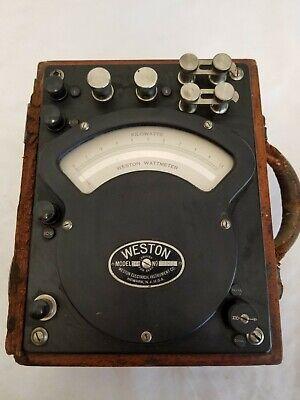 Vintage Weston Ac Dc Watt Meter Model 310 Electrical Instrument Wooden Case