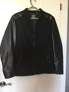 Spring Jacket Faux Leather Sleeves - Size 16