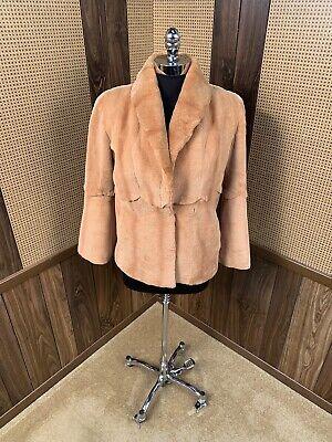 STUNNING DYED ORANGE SHEARED MINK FUR COAT JACKET STROLLER X-SMALL 0 - 2 Sheared Mink Jacket