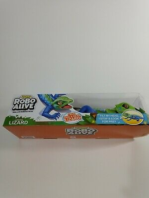 Robo Alive Lurking Lizard BatteryPowered Robotic Toy ZURU Green Blue Lizard Pet