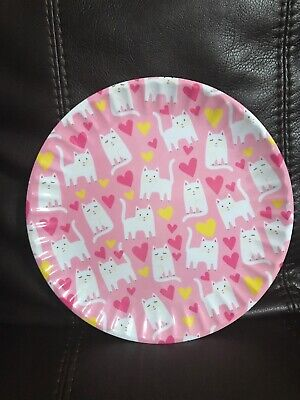 C&C California Home Pink Cats & Hearts Dessert Plates Melamine Set of 8 for sale  Shipping to India