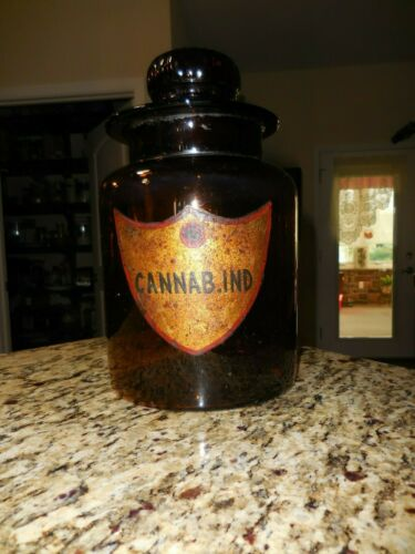 Large Cannabis Apothecary Jar 1850