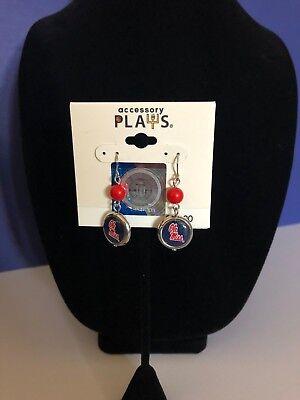 Ole Miss Rebels - Earrings w/red bead - NCAA Licensed Product Ole Miss Merchandise
