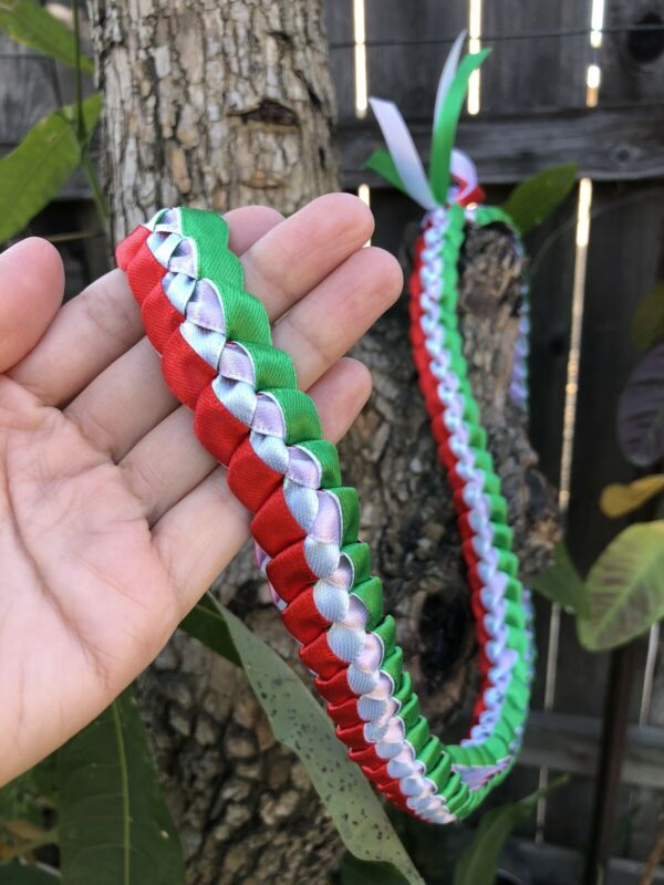 Red, Green & White Mexican Tri-Ribbon Graduation Lei (Custom orders available)