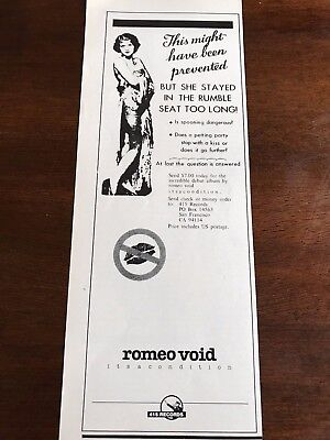 """1981 VINTAGE 4X11 PROMO PRINT Ad FOR ROMEO VOID """"ITS A CONDITION"""" RUMBLE SEAT"""