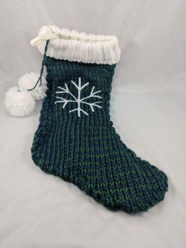 "Christmas Knit Stocking Fleece Lined 18"" Green Blue Snowflake"