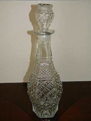 Vintage Anchor Hocking Wexford Liquor Decanter Bottle Diamond Glass Stopper Lid
