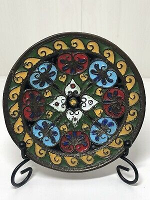 Antique Russian Enamelled Champleve Plate Wall Hanging Floral Design