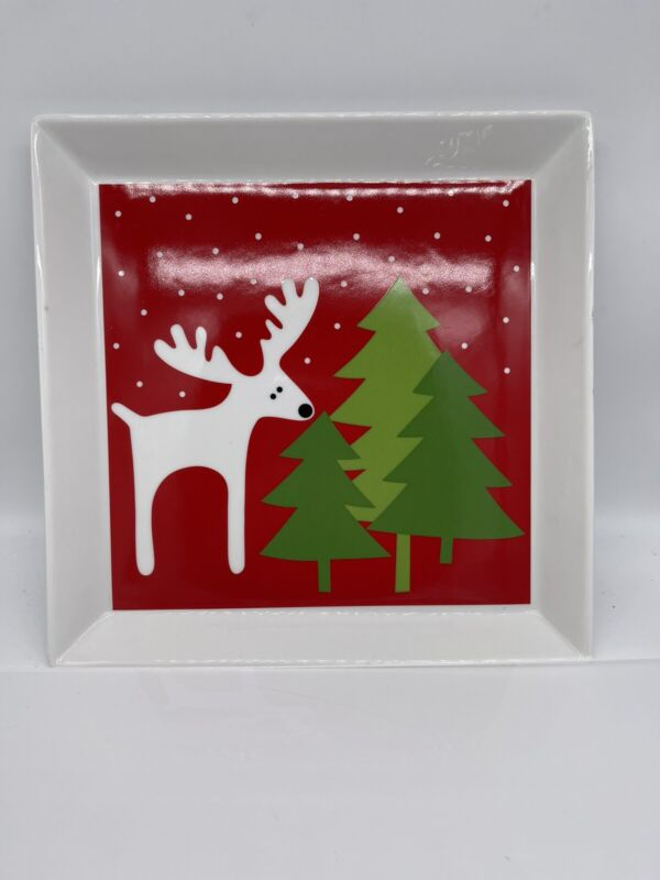 "Crate & Barrel Reindeer Platter  12"" Square Christmas Tree Serving Tray Plate"