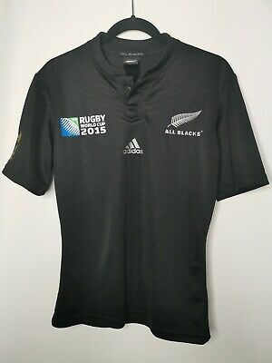 ADIDAS Mens All Blacks Rugby World Cup 2015 Shirt Size S New Zealand Top