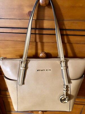 Michael Kors East West Jet Set Large Top-Zip Saffiano Leather Tote NWT