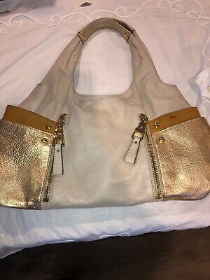 B Makowsky Handbag Beige Gold Leather Satchel Purse Large Shoulder Bucket HoBo