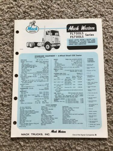 1973  Mack  Western FL and FS 700 LS series, sales information.