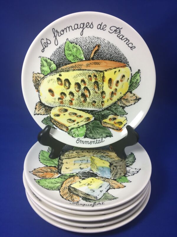 Vintage GIEN France LES FROMAGES DE FRANCE Faience CHEESE CANAPE PLATES Set of 6