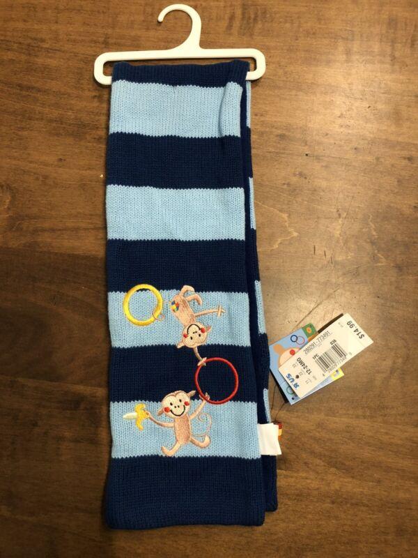 """boy 12-24 months scarf LAZOO baby blue & darker blue 32""""x5"""" monkey design photo"""