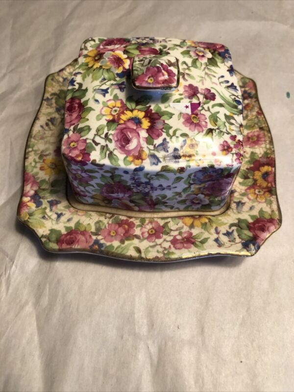 Vintage Royal Winton Grimwades Summertime Chintz Lidded Butter Dish