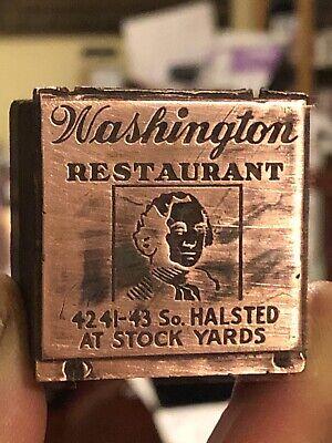 Vintage Wood Metal Metal Printing Print Block Stamps Washingtons Restaurant