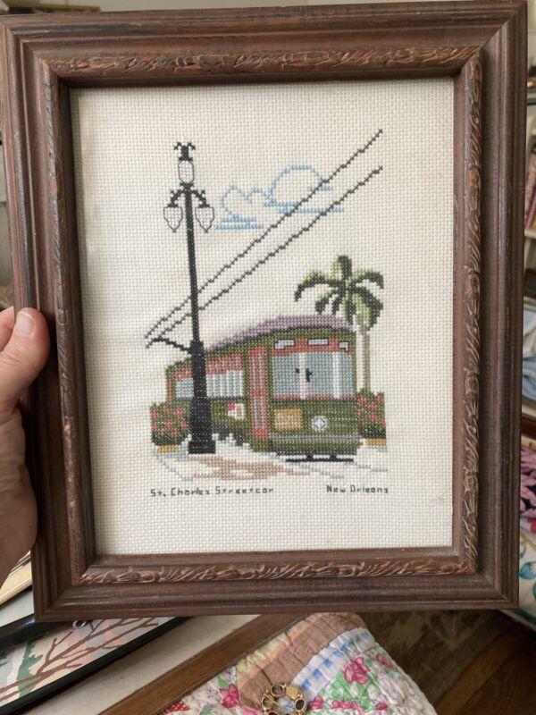 "Vintage New Orleans St. Charles Streetcar Crossstitch 12-1/2 X 10-1/2"""