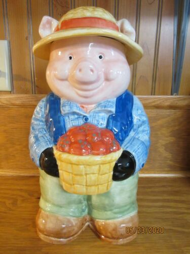 TREASURE CRAFT OINK FARMS COOKIE JAR, FARMER PIG, APPLES, STRAW HAT