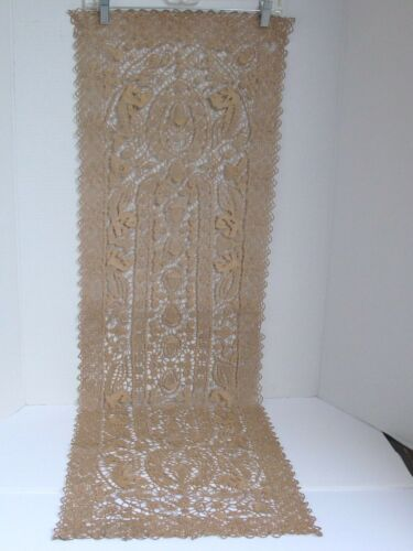 "Antique Hand Made Open Work Lace Table Runner 15 1/4"" X 48"""