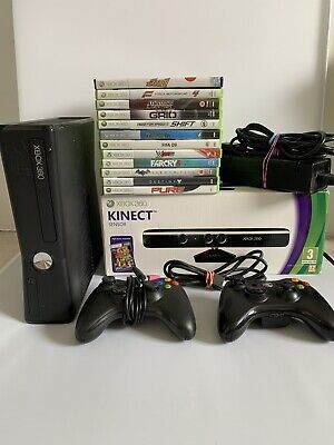 Xbox 360 S Slim 120GB Console Bundle - Boxed Kinect - 12 Games - 2 Controllers