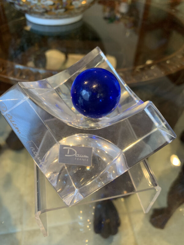 French DAUM  CUBE AND BALL Crystal Art Glass Ashtray Blue Cobalt Ball,