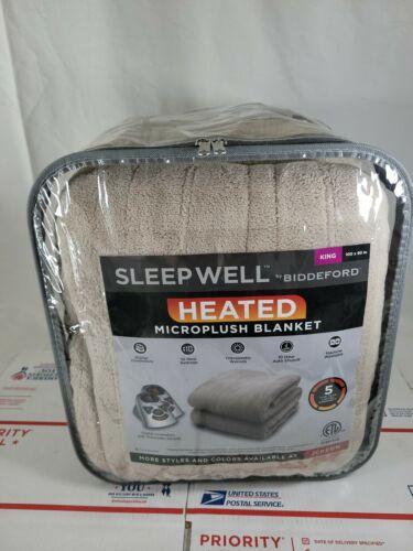 BIDDEFORD Microplush Heated Blanket  2 controllers beige KIN