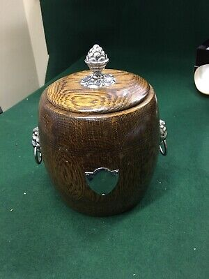 Vintage tea caddy wood with ceramic liner epns handle kitchenalia