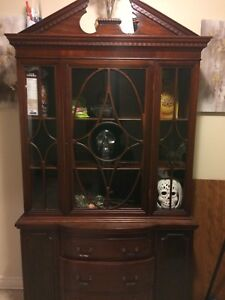 Pure Mahogany Chine cabinet with locks and LED Lights