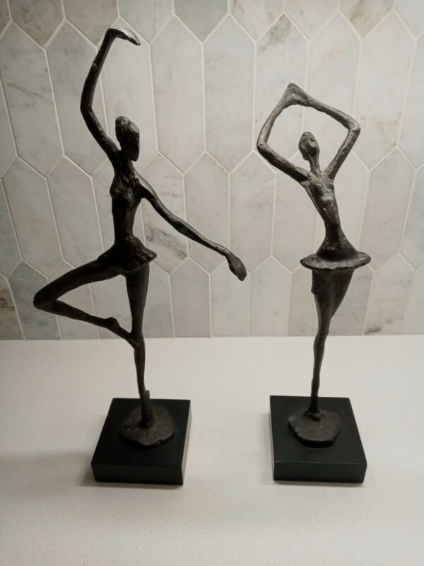 "2 VTG ELEGANT BRONZE BRASS BALLERINAS DANCER SCULPTURE STATUE 15"" & 14""TALL"