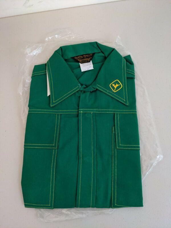 Vintage New Deadstock Union made Protexall John Deere Green Shirt Sz M