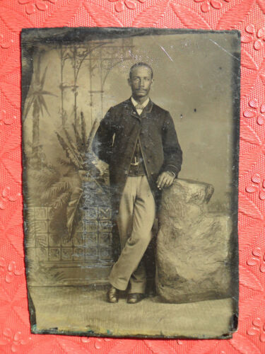 African American Tintype 1/6 Plate Black Young Man Mustache Suit Bow Tie 1800
