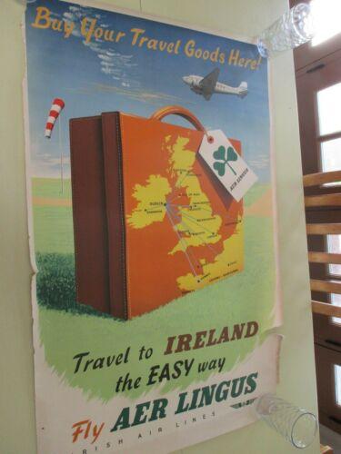 VINTAGE AER/AIR LINGUS IRISH AIRLINES ORIGINAL TRAVEL ADVERTISING POSTER 1950S