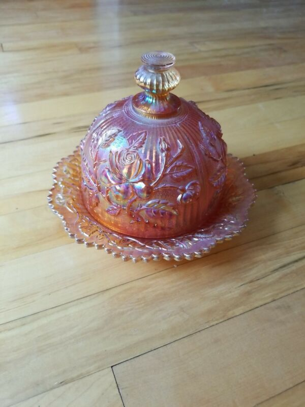Vintage Carnival glass Round Butter Dish