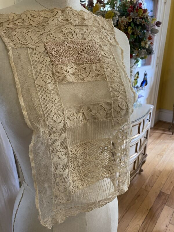 Antique French Net~mixed Lace Bodice Cream Roses Scallopped Ornate Circa 1800's