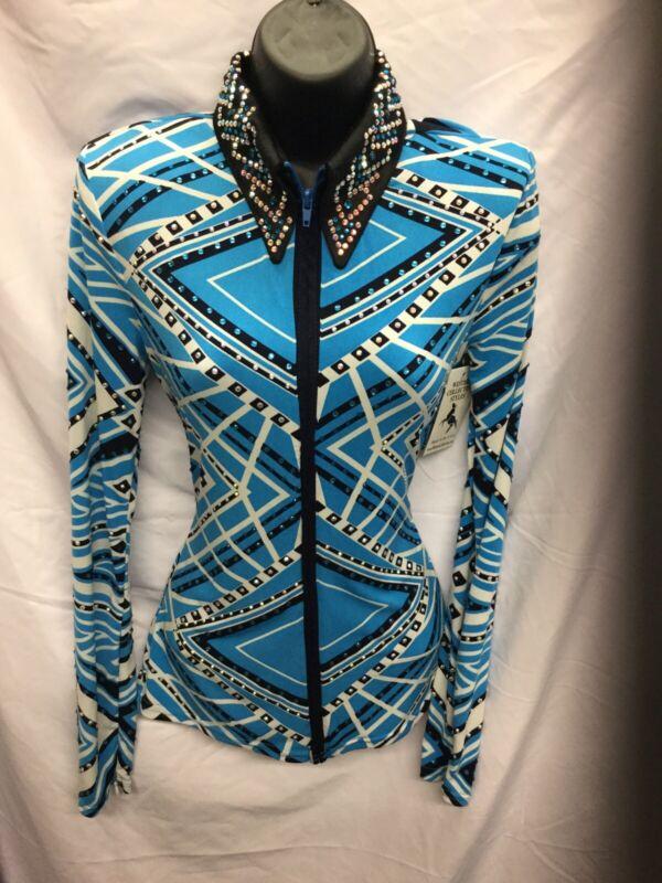 Western Collection Custom Sky Blue Geometric Medium Western Rail Show Shirt