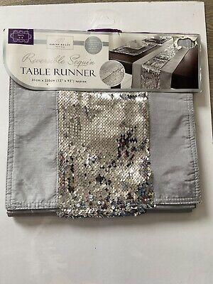 Karina Bailey Reversible Sequin Table Runner Grey & Silver 31cm X 235cm Approx