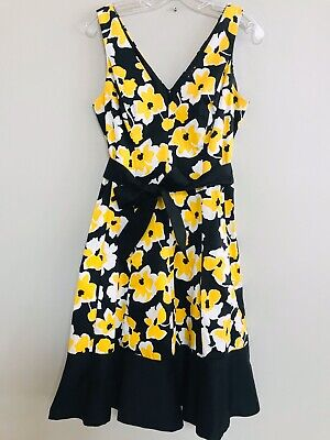 NINE WEST size 12 sleeveless cotton dress in yellow, black and white floral  Yellow Cotton Dress