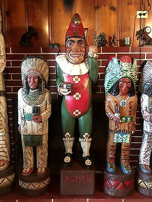Mr Punch John Gallagher Carved Wooden Cigar Store Indian 5 ft tall statue clown