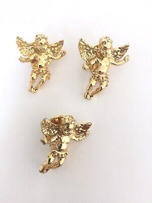 KIRKS FOLLY 3 Angel Cherub Charm Pins In Gold Tone