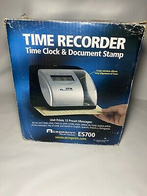 Acroprint Es700 Electronic Time Clock Recorder Brand New