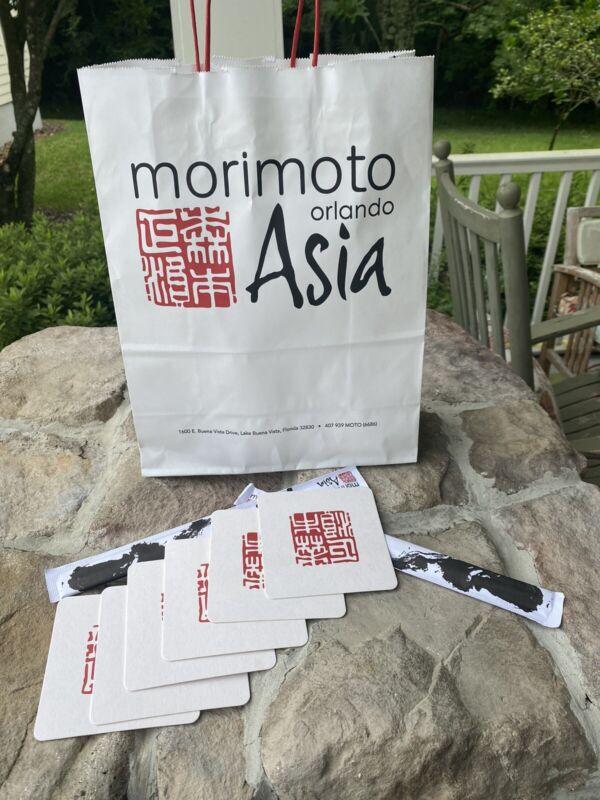 Authentic Morimoto Coasters. Set of 6. Bonus Chopsticks and Bag (9)