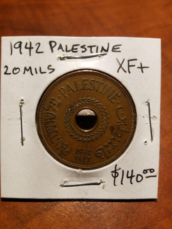 Palestine Coin 20 Mils 1942 XF+