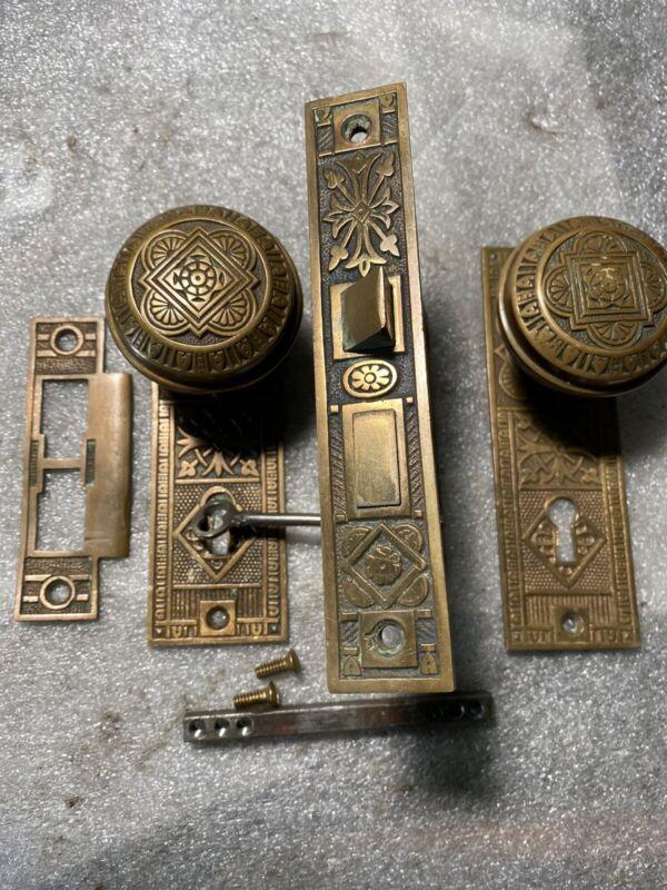 Antique Authentic Barrows Lock Co.  Set Door Lock Doorknobs, Backplates