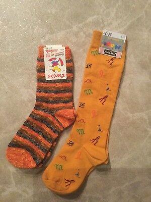 Kleine Ewer (2x Kinder Kleinkind Knie-Strümpfe Socken 27-30 gelb orange 5/6 NEU Evers+Ergee )