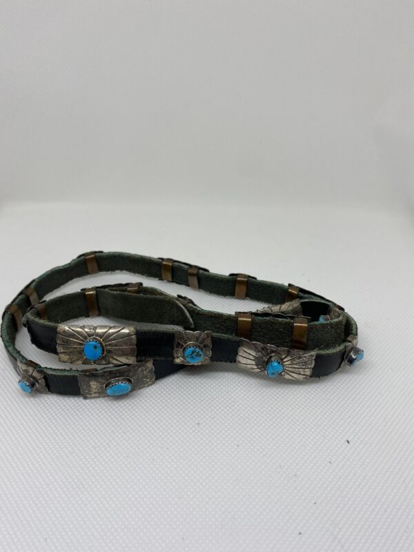 Native American Navajo Turquoise Sterling Silver Etched Sunburst Concho Hatband
