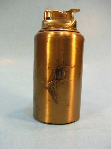 Brass/Bronze EVANS  TABLE CIGARETTE LIGHTER w/ Cattails & Geese SCENE