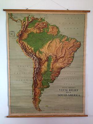 ANTIQUE W & AK JOHNSTON & GW BACON LTD VISUAL RELIEF SCHOOL MAP OF SOUTH AMERICA