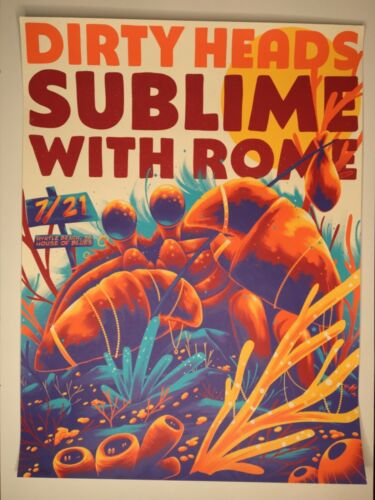 Dirty Heads & Sublime, screen print poster, Ltd. 110, Myrtle Beach 7/21/2021